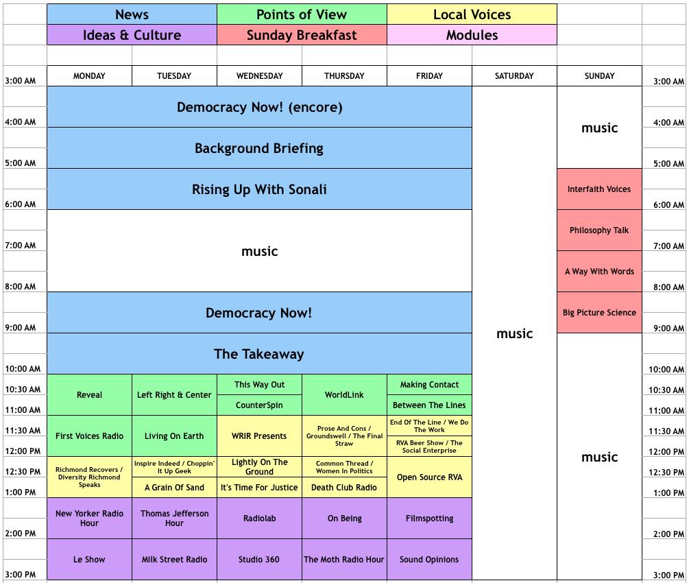 New WRIR Schedule - July 17, 2017