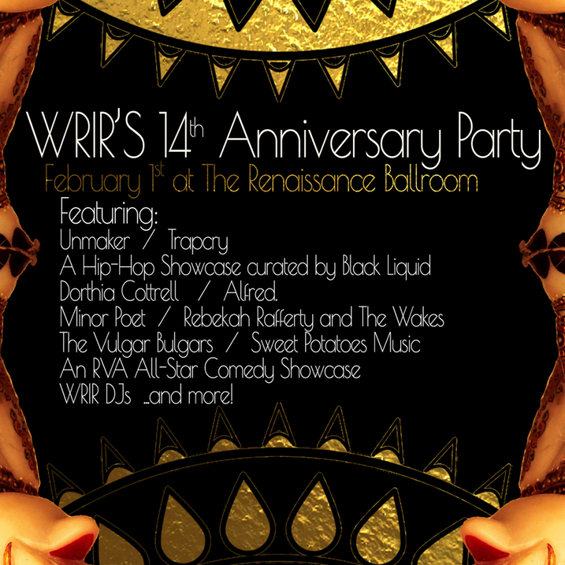 black and gold with info about wrir 14th anniversary party