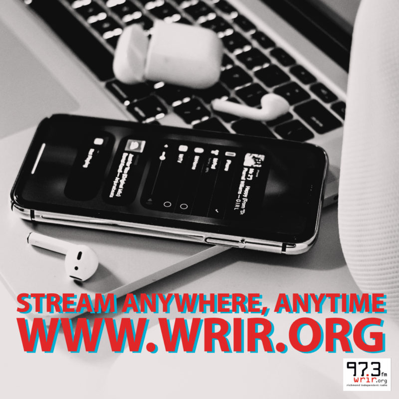 Image of an iphone, earbuds and laptop listening to WRIR at wrir dot org