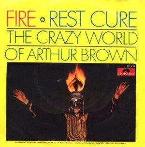 Arthur Brown wearing flaming headgear