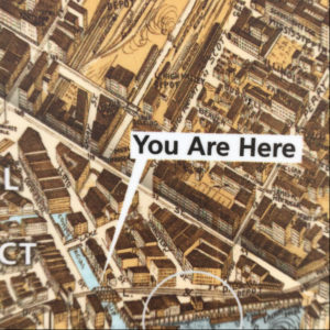 """Detail of a street map with text """"You Are Here"""""""